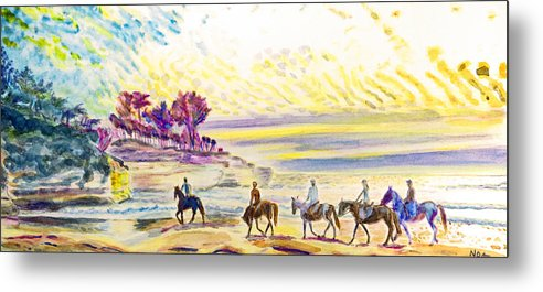 Seascape Metal Print featuring the painting Horsemen by Aymeric NOA