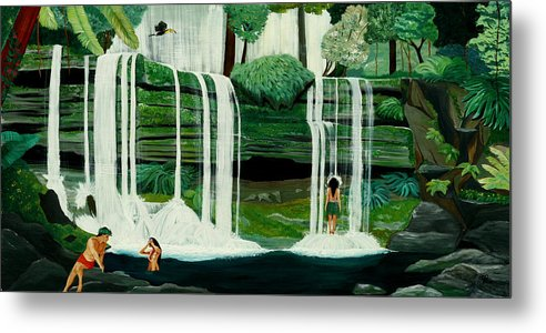 Tiki Art Metal Print featuring the painting Wahines In Waterfall by Julie Pflanzer