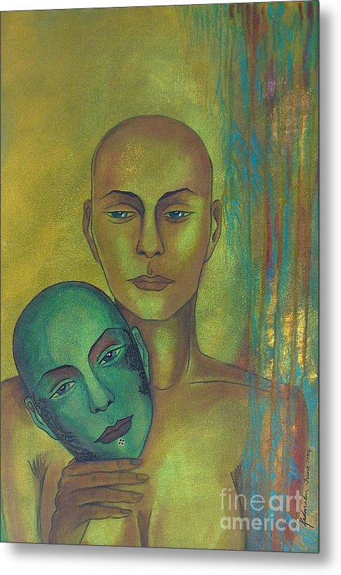 Figurative Metal Print featuring the painting Masquerade by Padmakar Kappagantula