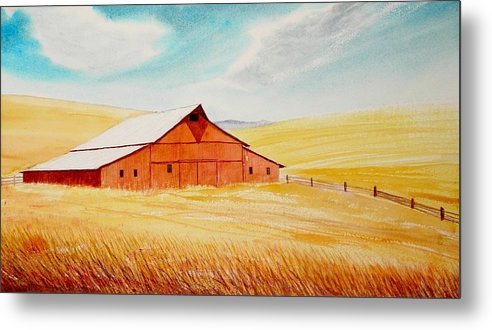 Wheat Metal Print featuring the painting Palouse Air by Leonard Heid