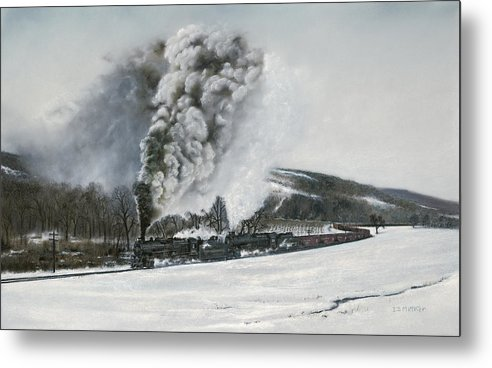 Trains Metal Print featuring the painting Mount Carmel Eruption by David Mittner