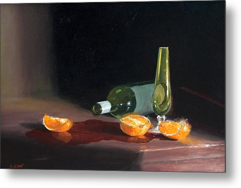 Still Life Metal Print featuring the painting Wine and Oranges by Greg Clibon