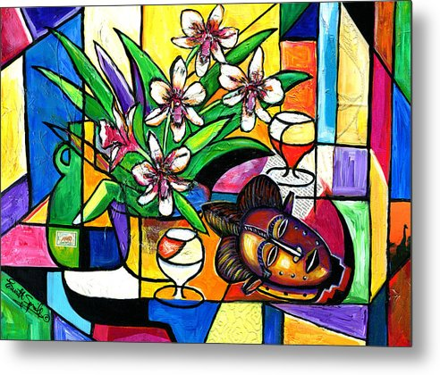 Everett Spruill Metal Print featuring the painting Still LIfe with Orchids and African Mask by Everett Spruill