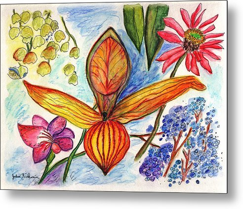 Nature Metal Print featuring the painting Flower 73 by Julie Richman