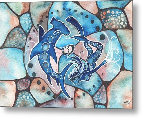 Ocean Metal Print featuring the painting Ocean Defender by Tamara Phillips