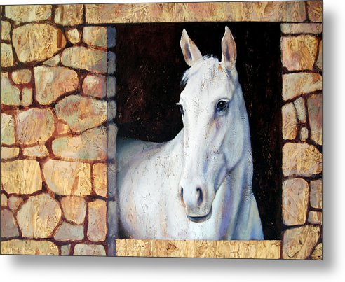 Horse Metal Print featuring the painting White Horse1 by Farhan Abouassali