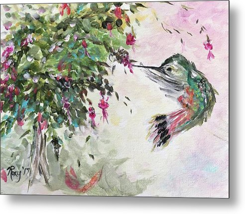 Hummingbird with Fuchsias by Roxy Rich