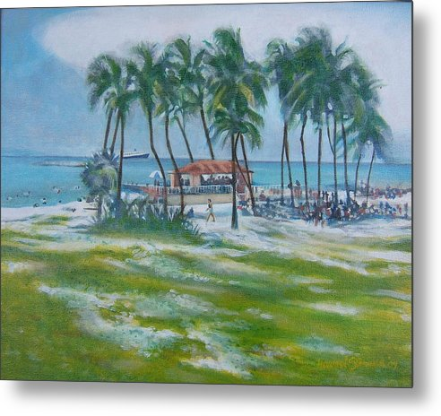 Beach Scene In The Bahamas Metal Print featuring the painting Bahama Beach by Howard Stroman