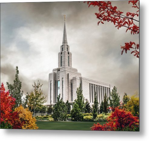 Oquirrh Metal Print featuring the painting Oquirrh Mountain Temple by Brent Borup