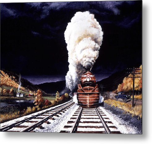 Train Metal Print featuring the painting Racing the Storm by David Mittner