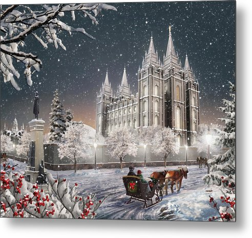 Salt Lake Metal Print featuring the painting Salt Lake Temple - Old Time Christmas by Brent Borup
