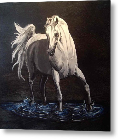 Equine Metal Print featuring the painting Midnight Prance by Glenda Smith