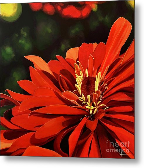 Zinnia Metal Print featuring the painting Sunshine's Daughter by Hunter Jay