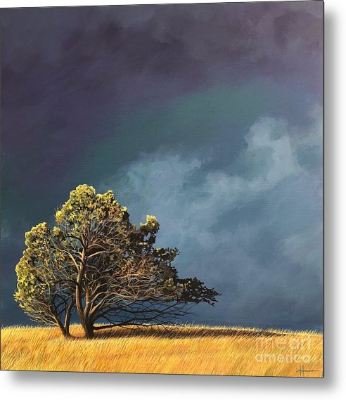 Landscape Metal Print featuring the painting Whistle Down The Wind by Hunter Jay