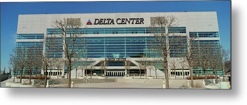 Photography Metal Print featuring the photograph Panoramic Of Delta Center Building by Panoramic Images