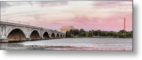Photography Metal Print featuring the photograph Arlington Memorial Bridge With Lincoln by Panoramic Images