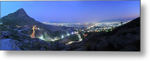Scenics Metal Print featuring the photograph Blue Hour Ajmer City Panorama by Nimit Nigam