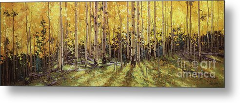 Fall Aspen Panorama Metal Print featuring the painting Fall Aspen Panorama by Gary Kim