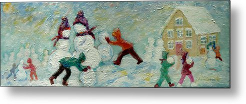 Kids Building Snow People Metal Print featuring the painting Friends Making Friends by Naomi Gerrard