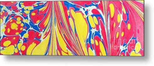 Abstract Metal Print featuring the painting Water Marbling Art, Ebru by Dilan C