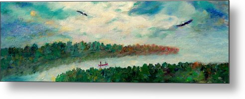 Canoeing On The Big Canadian Lakes Metal Print featuring the painting Exploring Our Lake by Naomi Gerrard