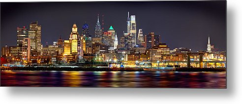 Philadelphia Skyline At Night Metal Print featuring the photograph Philadelphia Philly Skyline at Night from East Color by Jon Holiday