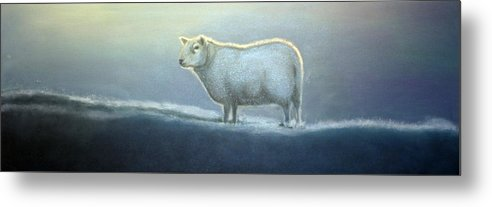 Sheep Metal Print featuring the painting Simon the Sheep by Fiona Jack