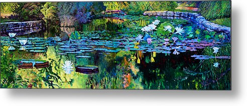 Water Lilies Metal Print featuring the painting The Abstraction of Beauty one and two by John Lautermilch