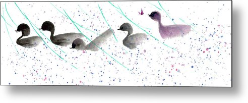A Group Of Cheery Ducklings Floating Happily In A Pond. The Watercolor On Rice Paper Painting Is Done By Mui-joo Wee With Simple Brush Strokes. Metal Print featuring the painting A Cheery Day II by Mui-Joo Wee