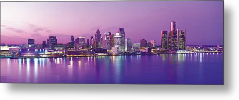 Dawn Metal Print featuring the photograph Detroit Under Purple Sky by Jeremy Woodhouse