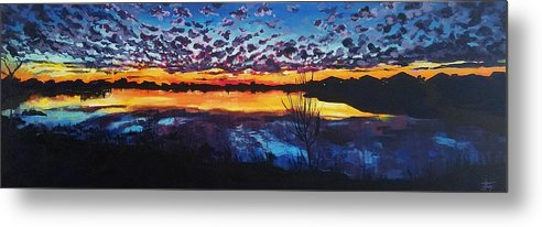 Sunset Metal Print featuring the painting Josey Lake At Sunset by Allison Fox