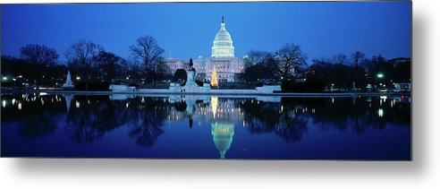 Scenics Metal Print featuring the photograph Us Capitol And Christmas Tree by Walter Bibikow