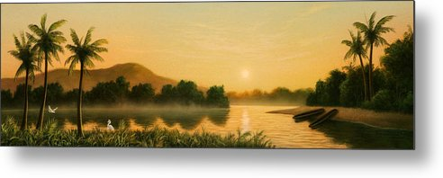 Native American Metal Print featuring the painting Seminole Sunset by Jerry LoFaro