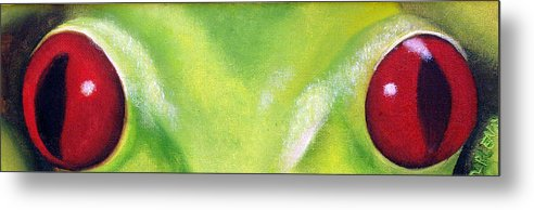 Red Eyed Tree Frog Metal Print featuring the painting Red Eyed Tree Frog by Darlene Green