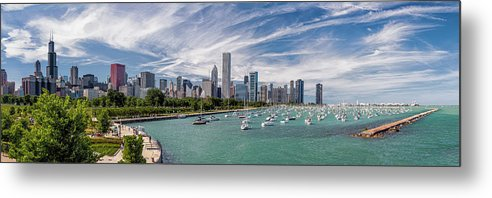 3scape Metal Print featuring the photograph Chicago Skyline Daytime Panoramic by Adam Romanowicz