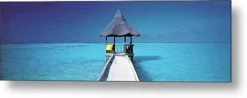 Tranquility Metal Print featuring the photograph Pier And Blue Indian Ocean, Maldives by Peter Adams