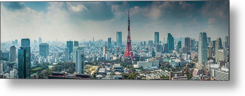 Tokyo Tower Metal Print featuring the photograph Tokyo Tower Futuristic Skyscraper by Fotovoyager