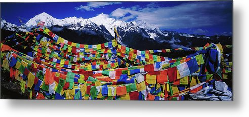 Chinese Culture Metal Print featuring the photograph Buddhist Prayer Flags With Meili by Richard I'anson