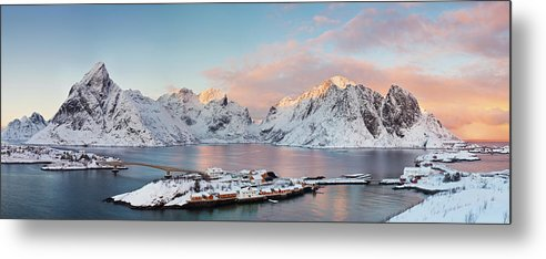 Tranquility Metal Print featuring the photograph Lofoten Islands Winter Panorama by Esen Tunar Photography