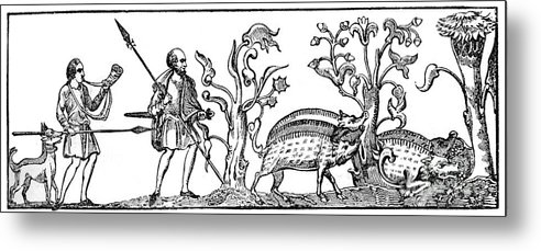 Engraving Metal Print featuring the drawing Swine Hunting, 9th Century, 1833 by Print Collector