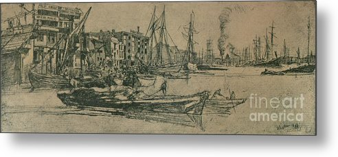 Etching Metal Print featuring the drawing Thames Warehouses, 1859, 1904 by Print Collector