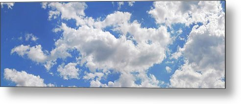 Panoramic Metal Print featuring the digital art Blue Sky With Cumulus Clouds, Artwork by Leonello Calvetti
