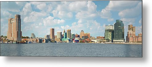 Downtown District Metal Print featuring the photograph Baltimore Skyline And Inner Harbor by Greg Pease