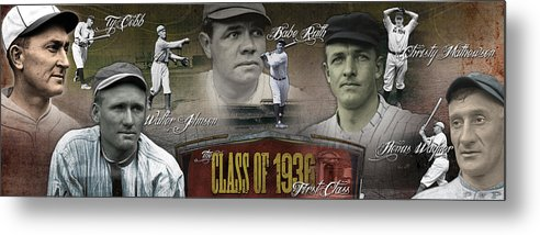 First Five Metal Print featuring the photograph First Five Baseball Hall Of Famers by Retro Images Archive