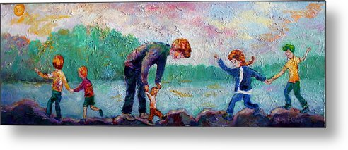 Children Balancing On The Rocks By The Shore Of The Lake Metal Print featuring the painting Balance by Naomi Gerrard