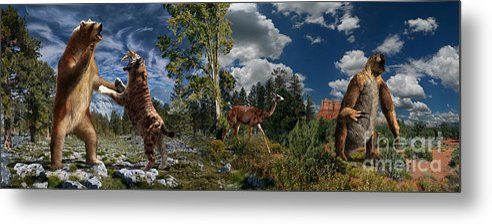 Paleoart Metal Print featuring the digital art Pliocene - Pleistocene mural 2 by Julius Csotonyi