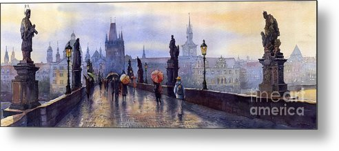 Cityscape Metal Print featuring the painting Prague Charles Bridge by Yuriy Shevchuk