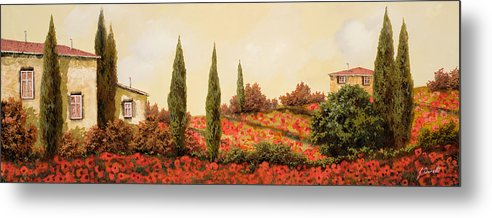 Landscape Metal Print featuring the painting Tre Case Tra I Papaveri Rossi by Guido Borelli