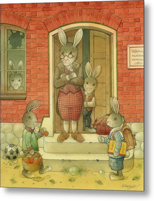 School Hare Red Teacher Metal Print featuring the painting Hare School by Kestutis Kasparavicius