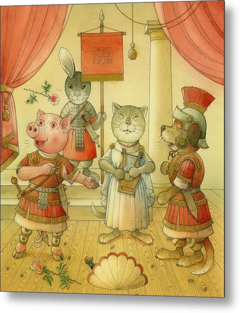 Opera Singer Animals Cat Pig Dog Rabbit Giulio Cesare Metal Print featuring the painting Opera by Kestutis Kasparavicius